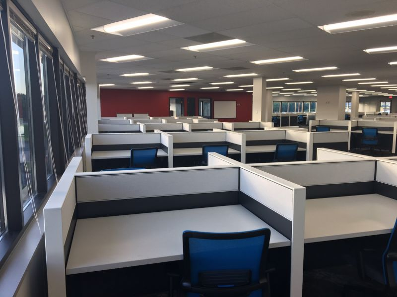 updated office space with cubicles at American Customer Care Dubuque