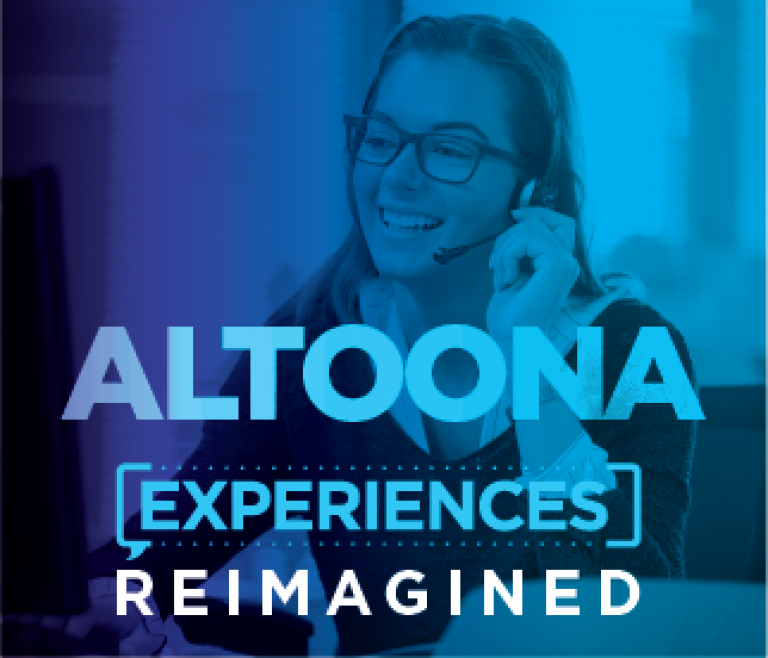 Altoona location header with a woman