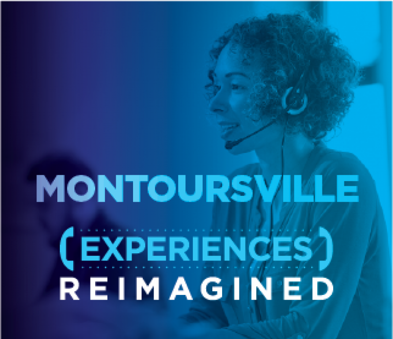 Montoursville location header with a woman smiling at her desk on a call with a customer