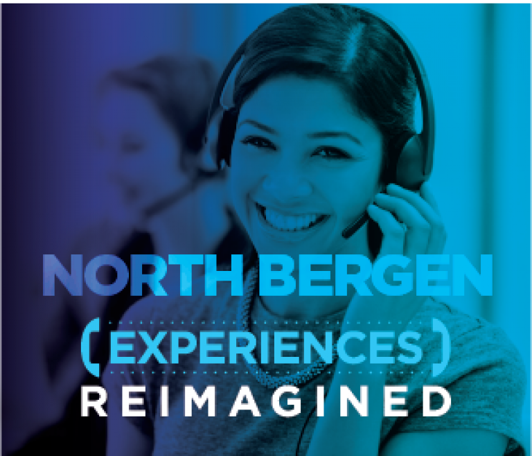 North Bergen location header with a woman smiling at her desk on a call with a customer