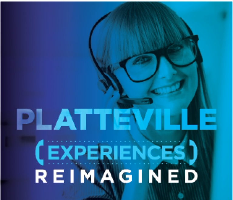Platteville location header with a woman smiling at her desk on a call with a customer