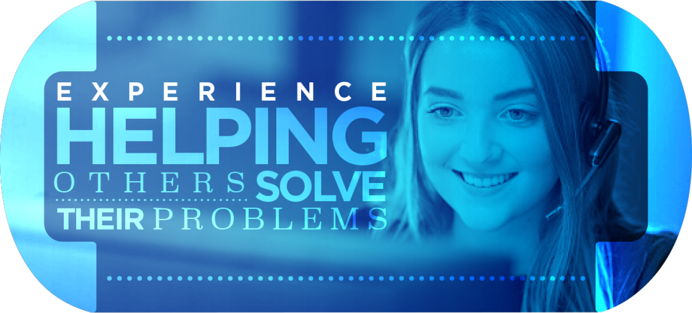 Woman on the phone with a customer Experience Helping Others Solve Their Problems